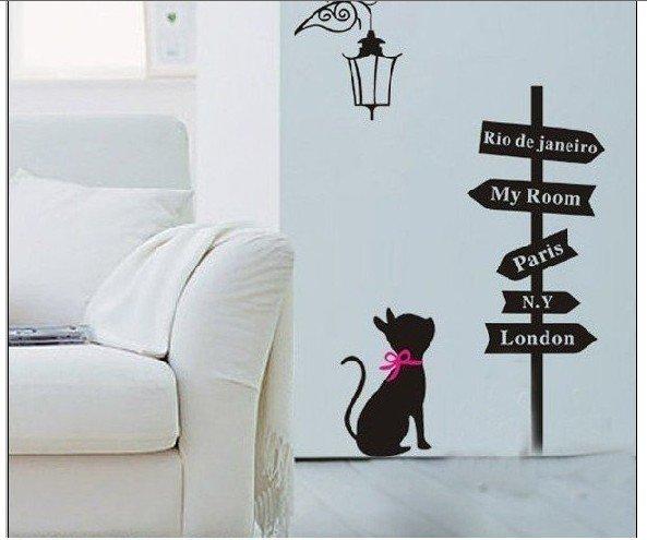 Free-Shipping-Mixed-Order-PVC-Wall-Sticker-Cat-wall-decal-wallpaper-room-sticker-house-sticker-Cartoon