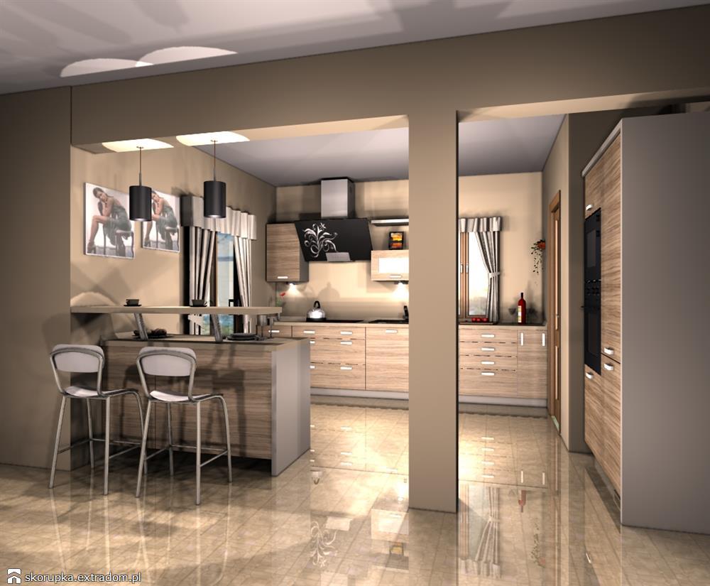kuchnia otwarta - lada kuchenna